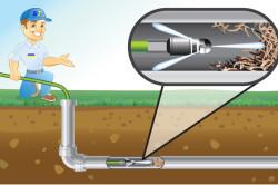 Схема прочистки канализационной трубы химическими средствами